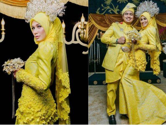 Inspirasi baju sanding tema kuning diraja untuk raja sehari