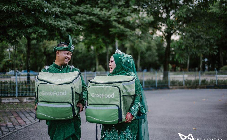 Bila 'pasangan Grabfood' bertemu jodoh, tema kahwin pun Grabfood juga